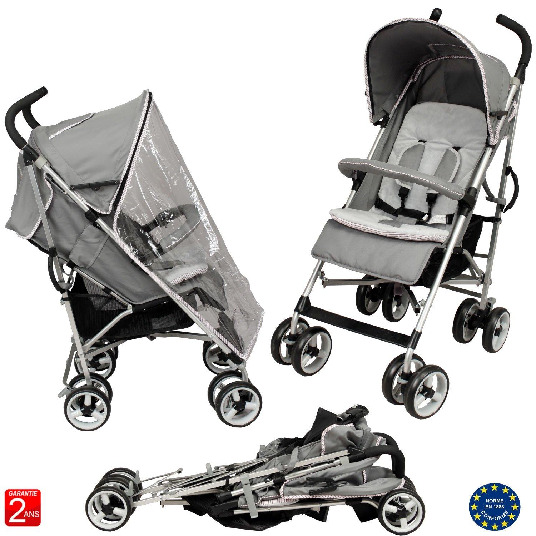 Poussette canne bébé luxe 4 roues multi positions aluminium BébéAchat