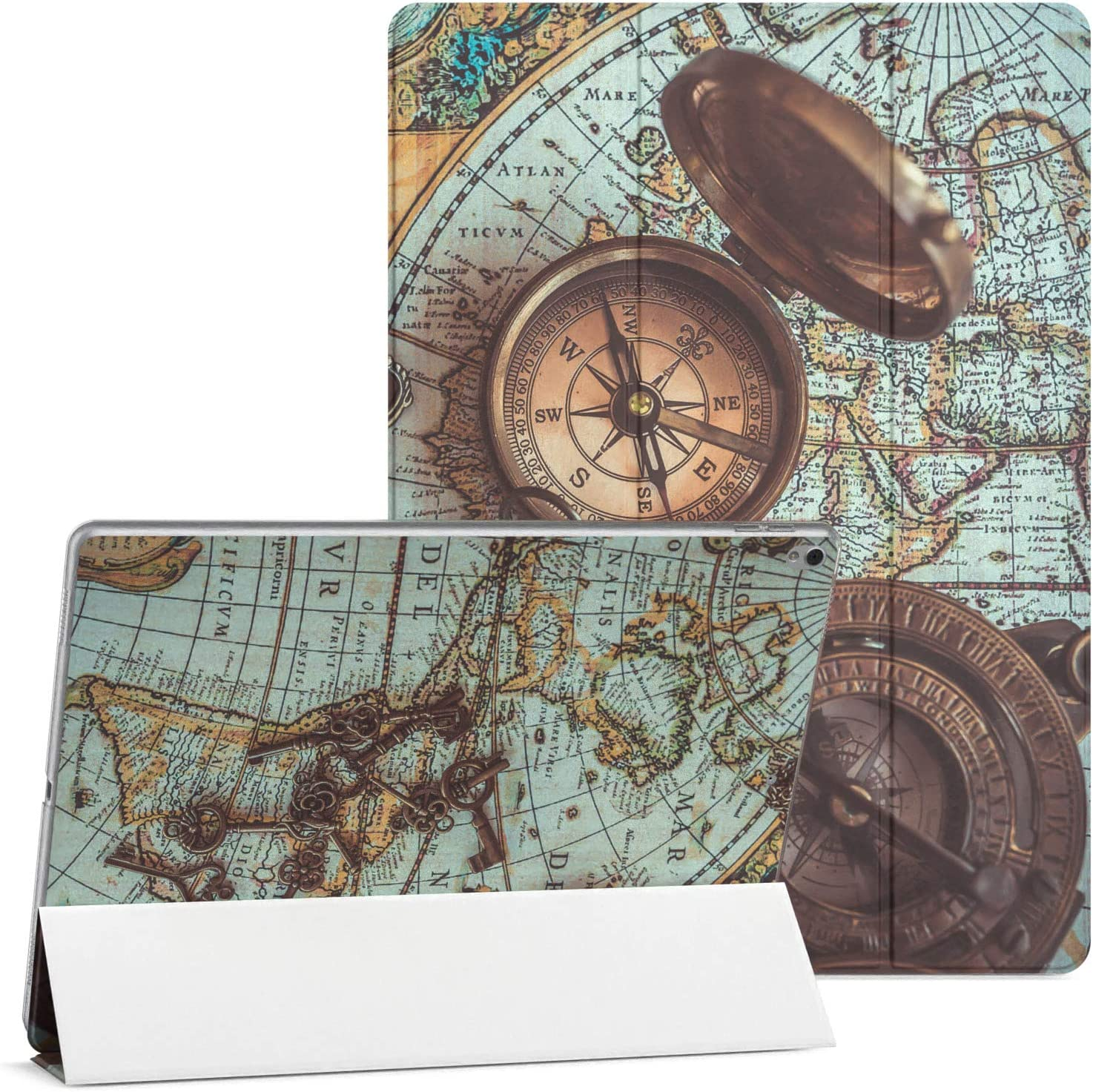Mertak Case Compatible with iPad Pro 11 2020 12.9 2019 2018 Air 3 2 10.2 8th 7th Gen Mini 5 4 10.5 inch 9.7 Smart Cover Flip Clear Old Vintage World Map Compass Magnetic Antique Nautical