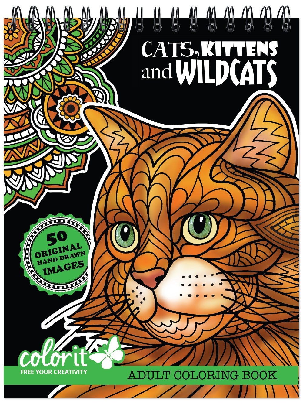 Cats Kittens And Wildcats Coloring Book For Adults With Creative Hand Drawn Designs To Color Animal Pages Printed On Artist Quality