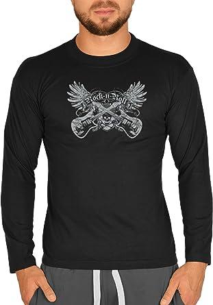 Biker Camisa – Rock n Roll Guitar – Camiseta de Manga Larga ...