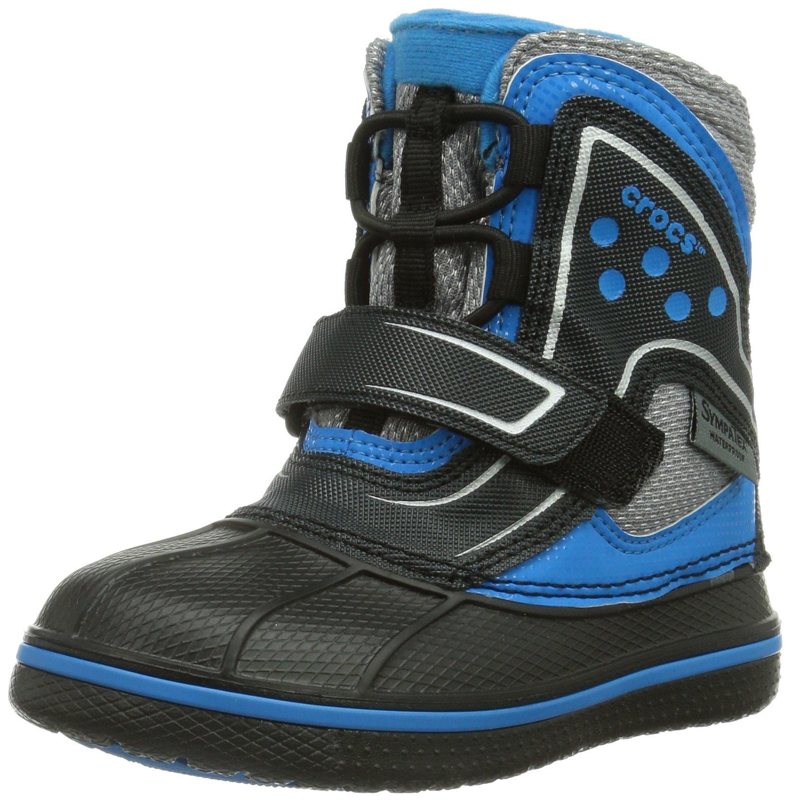 crocs AllCast Waterproof Snow Boot (Toddler/Little Kid/Big Kid), Black/Ocean, 9 M US Toddler