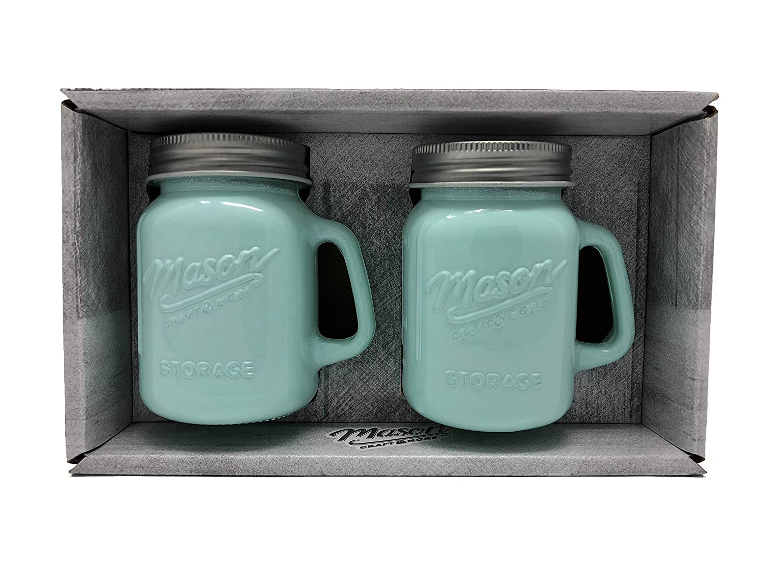 Mason Jar Salt and Pepper Shaker - Milk Glass Green TTU