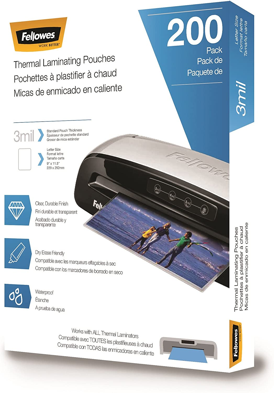 Fellowes Thermal Laminating Pouches, Letter Size 9 x 11.5-Inches, 3 mil, 200 pack (5743401)