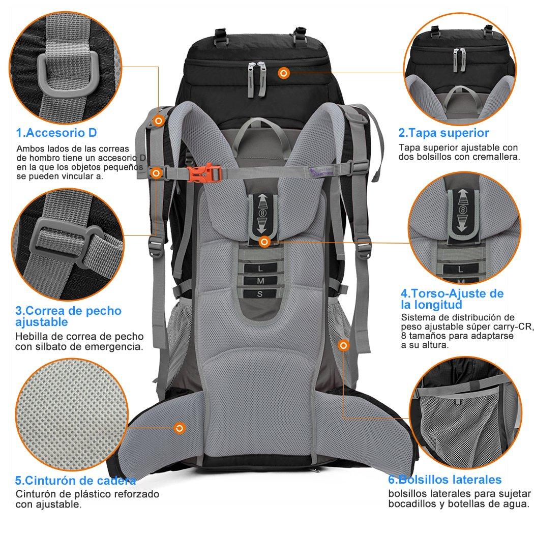 Mountaintop 70L+10L Mochila Trekking/ Mochila de Viaje/Mochilas de Marcha/Mochila Impermeable /Mochilas para deporte aire libre 5805III: Amazon.es: Deportes ...