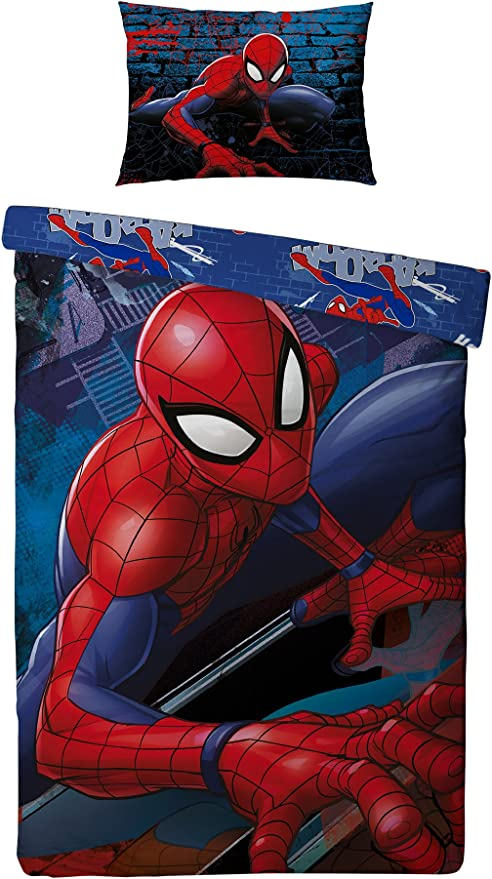 Official Licensed Simple Housse Couette /& Taie D/'oreiller Spiderman Ensemble De Couette 200X140cm