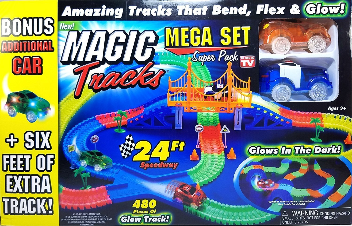 Magic Tracks Mega Set Super Pack With Three Cars And 24 Gamis Onthel Series Feet Of 480pc Toys Games