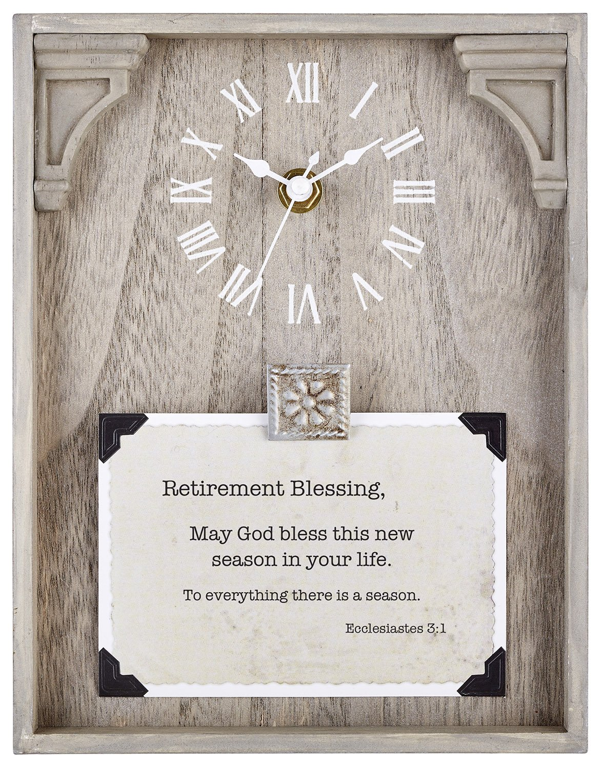 CB Gift Heartfelt Collection Framed Table Clock with Sentiment, 7'' x 9'', Natural Wood