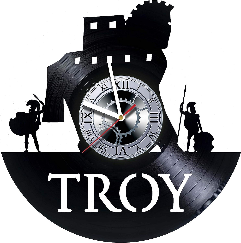 studioRUTART Troy Vinyl Wall Clock - Troy Ancient City Greece Art Handmade Wall Decor Made of Vinyl Record - Original Gift for Any Occasion - Original Decor Design