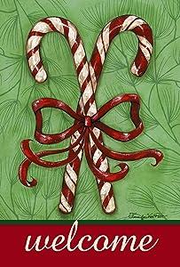 Toland Home Garden Candy Cane Welcome 12.5 x 18 Inch Decorative Christmas Candy Ribbon Garden Flag