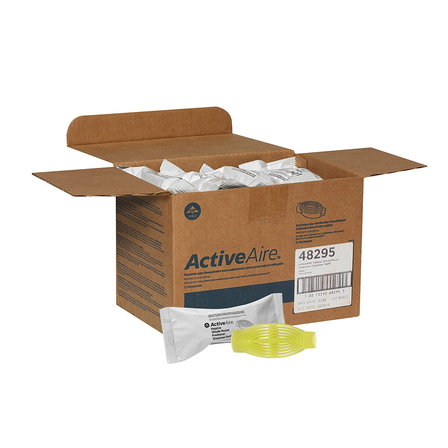 ActiveAire Passive Whole-Room Freshener Dispenser Refill by GP PRO (Georgia-Pacific), Citrus, 48295, 12 Cartridges Per Case