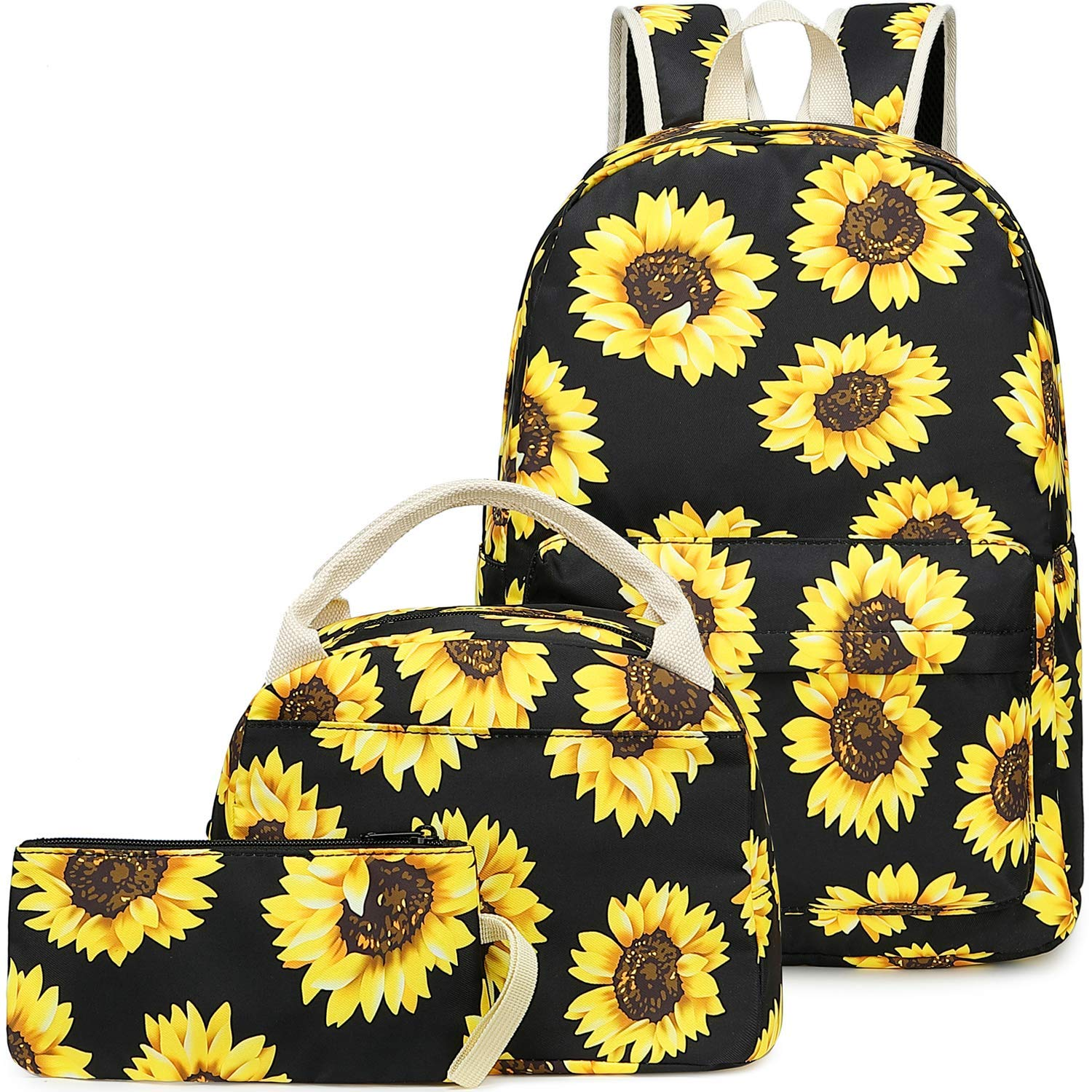 Girls School Backpack Bags Teens Bookbag with Lunch Box and Pencil Case, Sunflower