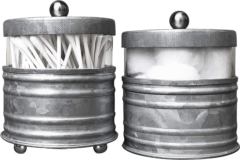 Autumn Alley Galvanized Bathroom Apothecary Jars Set, Farmhouse Bathroom Jars Qtip Holder Glass Dispenser- Rustic Vanity Organizer with Lids for Cotton Balls, Swabs, Rounds, Bath Salts 2-Glass Jars