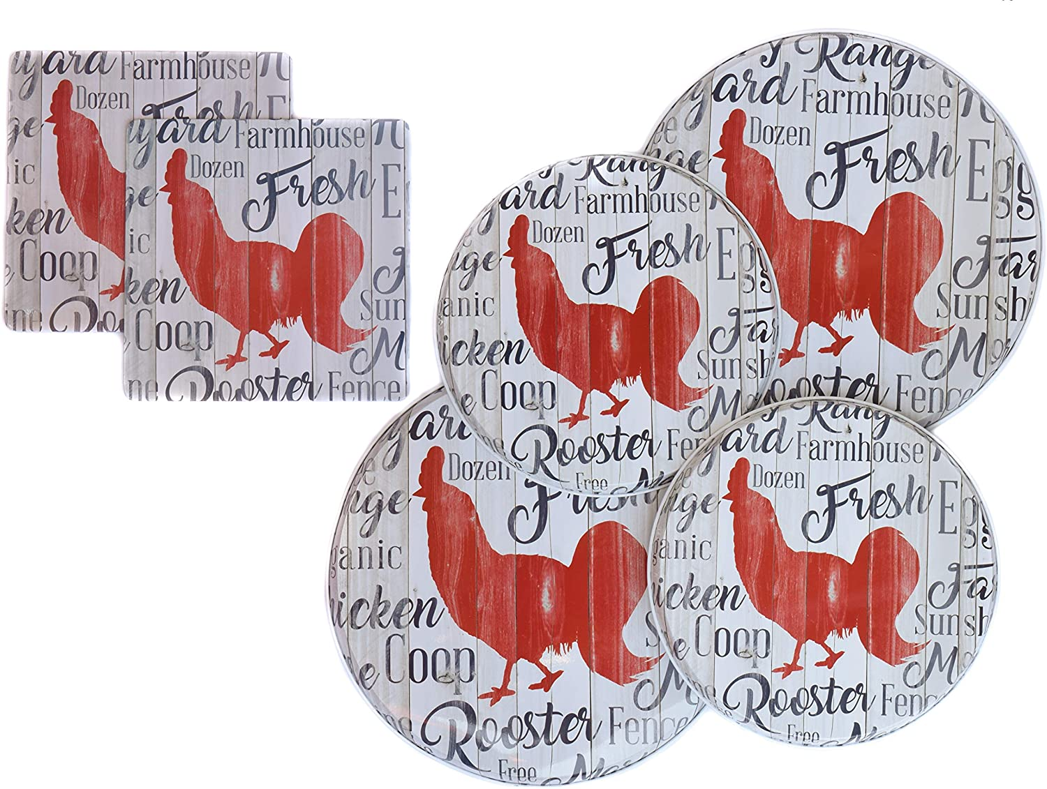 Chicken Decor Stove Burner Covers - Rooster Kitchen Decor in a Farmhouse Rooster Style WITH Two Insulated Farmhouse Rooster Hot Pads