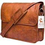 Urban Leather 15 Inch Half Flap Messenger Bag for Work Laptop Shoulder Bag New Job Gifts for Christmas New Year for Men and Teen Boys   Classic Vintage Brown Bag