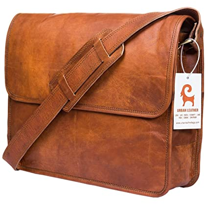 380ce8ace Amazon.com: Urban Leather Handmade Over The Shoulder Laptop Bag for Men Women  Boys Girls, with Shock Proof Padding, Medium Size 15 inch: Computers & ...