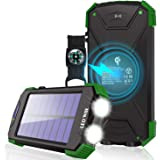 Solar Charger, 10000mAh Solar Power Bank, Qi Wireless Charger, Portable Charger for iPhone, External Battery Pack, Dual Flash