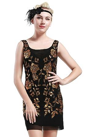Babeyond Damen 1920s Stil Mini Kleider voller Pailletten Offener ...