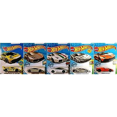 Hot Wheels Lamborghini 5 Car Set Bundle Includes Huracan Reventon Aventador J and Centenario Roadster Version 2: Toys & Games