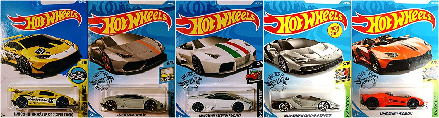 Hot Wheels Lamborghini 5 Car Set Bundle Includes Huracan Reventon Aventador J and Centenario Roadster Version 2