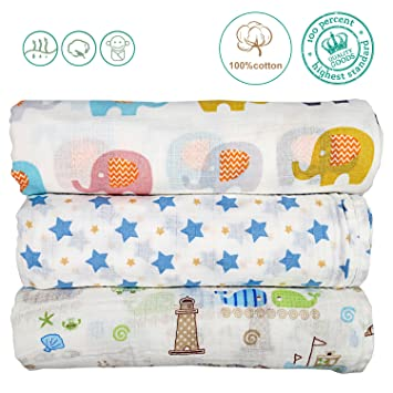 Comfy 100 /% Cotton Breathable Muslin Swaddle Baby Blanket w// Pacifier