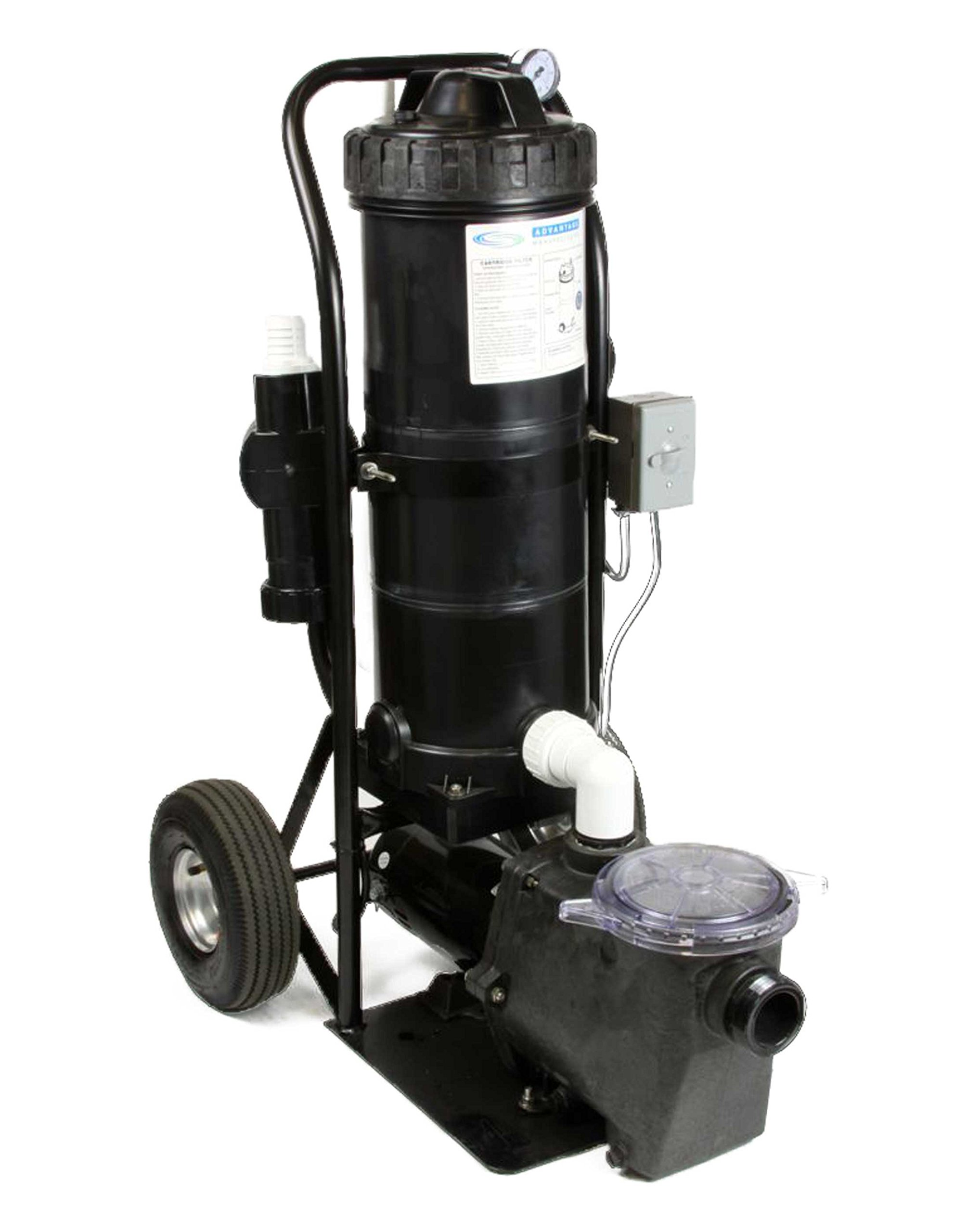 Mini Vac II 1 HP In Ground Pump Portable Vacuum System 80 GPM Mounted on a Small Cart by Advantage Manufacturing, Inc.