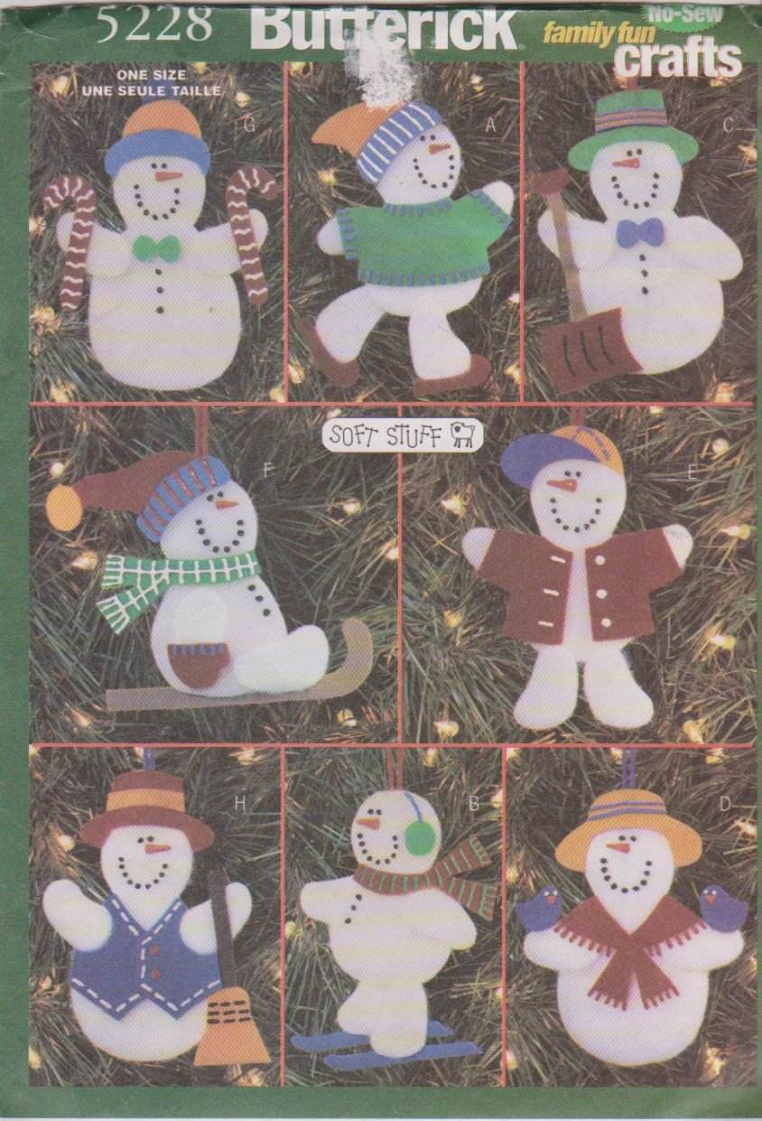 Butterick 5228 Crafts Pattern No-Sew Snowmen Ornaments by Butterick   B0040RYD8Y