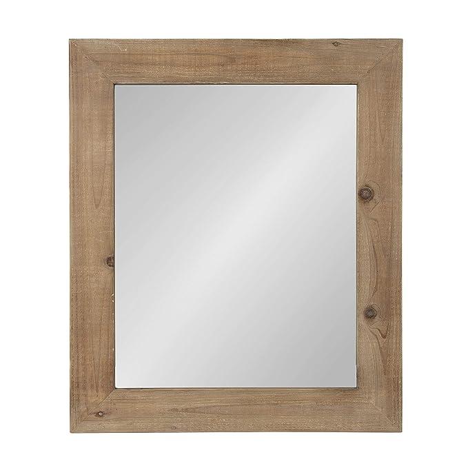 Kate and Laurel Garvey Wood Framed Wall Mirror, 36 x 30, Rustic Brown