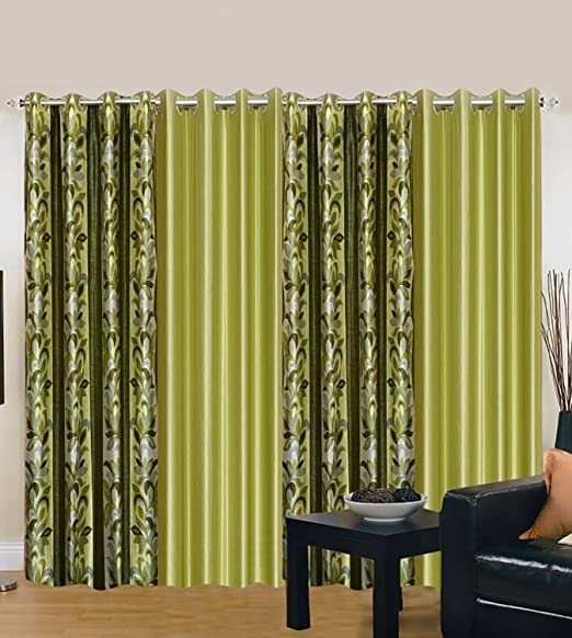 Export Hub Plain 4 Piece Eyelet Polyester Door Curtain Set - 7ft, Green Curtains at amazon