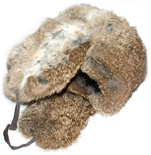 b94b45476a4 Amazon.com  Winter Hat Russian Rabbit Fur Ushanka Brown  Clothing