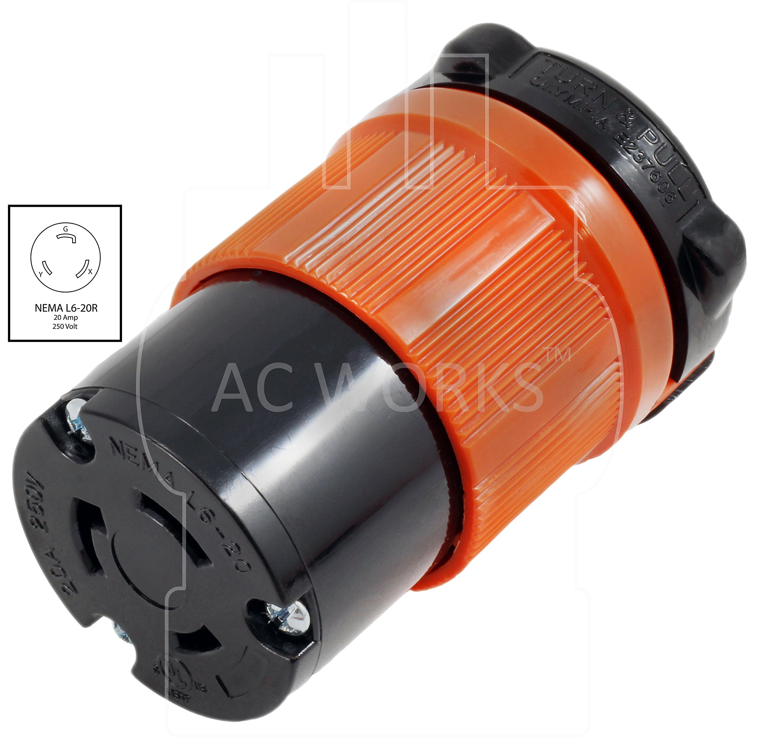 AC WORKS [ASL620R] NEMA L6-20R 20Amp 250Volt 3 Prong Locking Female Connector With UL, C-UL Approval by AC WORKS (Image #2)