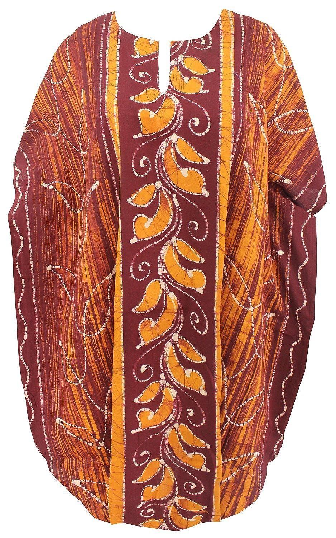 La Leela Baumwollkimono Hand Batik braun Vintage Frauen Kaftan kurzen Sommerkleid