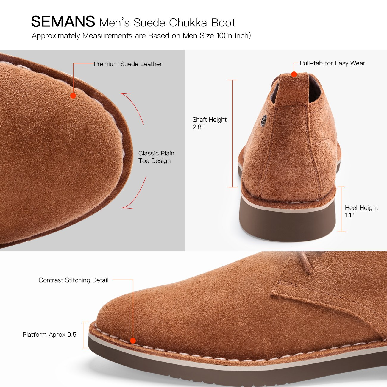 SEMANS Men's Suede Chukka Boot Casual Lace up Desert Boot Ankle Shoes Stylish Fashion Fit Comfortable Leather Shoes Brown 9.5 D (M) US