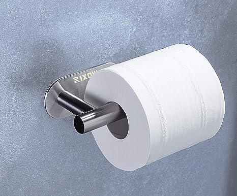 Portarrollos Autoadhesivo para Papel Higiénico, RIXOW Portarrollos Baño de Acero Inoxidable Fijar sin Taladrar