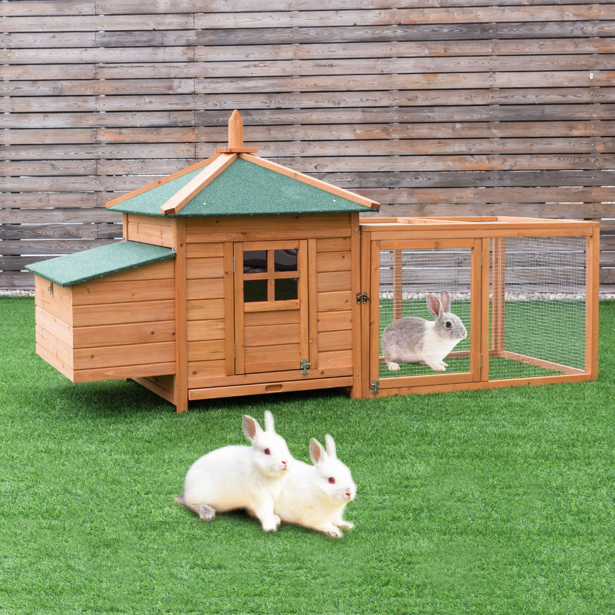 "Tangkula 78"" Chicken Coop Outdoor Garden Backyard Wood Hen House Rabbit Hutch Poultry Small Animal Cage"
