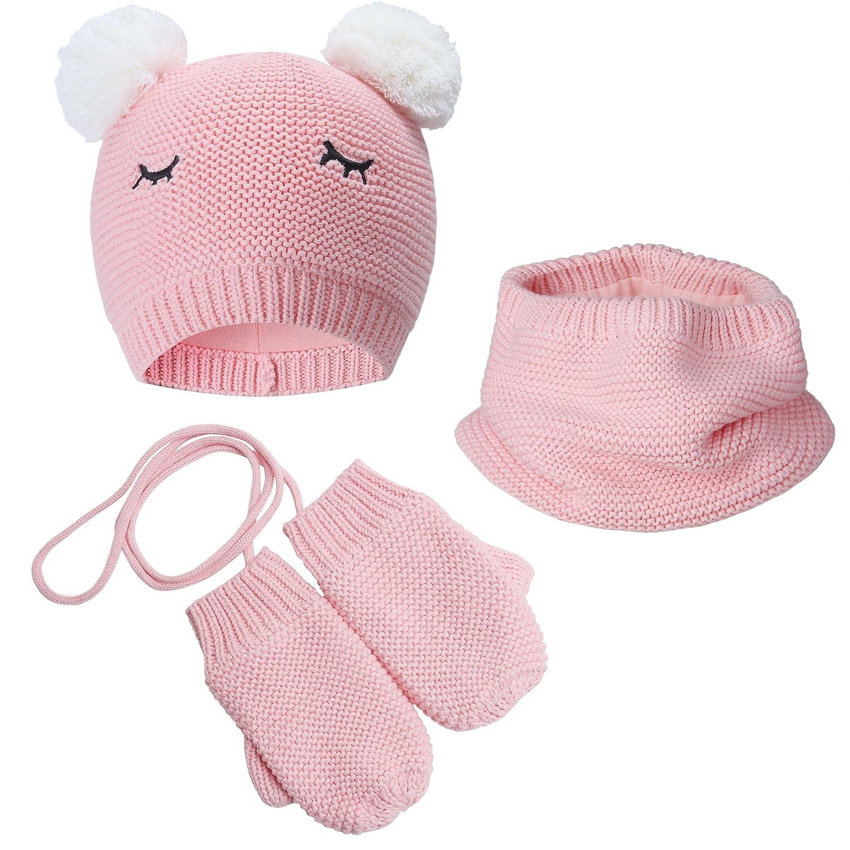 Vivobiniya Toddler Baby GILR Winter Hat Scarf Gloves 3pcs/Set Pink 0-6Y