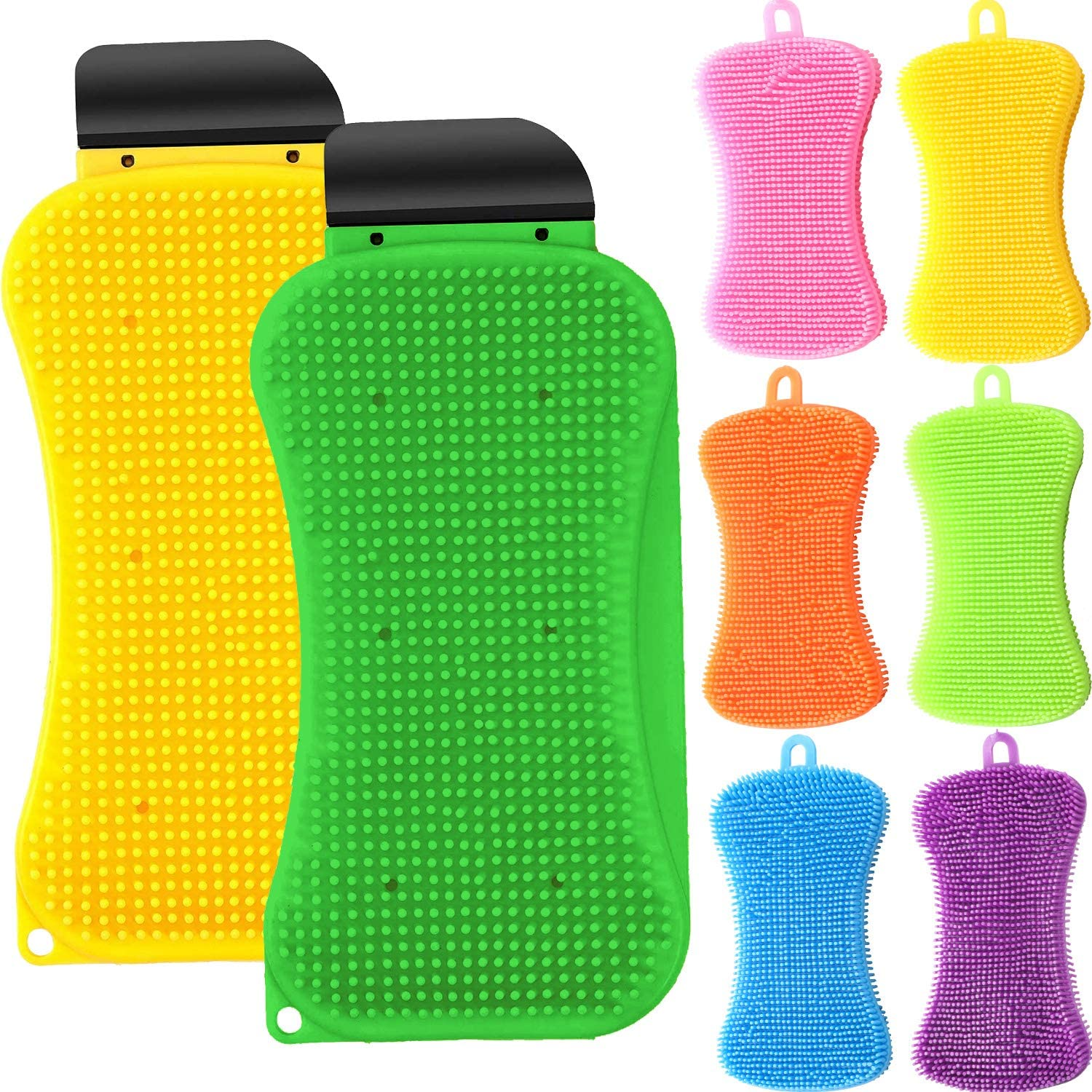 8 Pieces 3-in-1 Kitchen Silicone Sponge Scrubber and Silicone Dish Washing Scrubber Multi-Functional Silicone Sponge Scraper Cleaning Brush for Kitchen Bathroom Cleaning Supplies