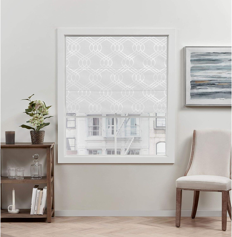 Exclusive Home Curtains Prague Trellis Blackout Roman Shade, 31x64, White: Home & Kitchen