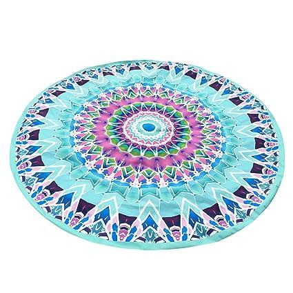 Pinzhi playa toalla de playa redondo de poliéster alfombra de Yoga para Yoga, color azul