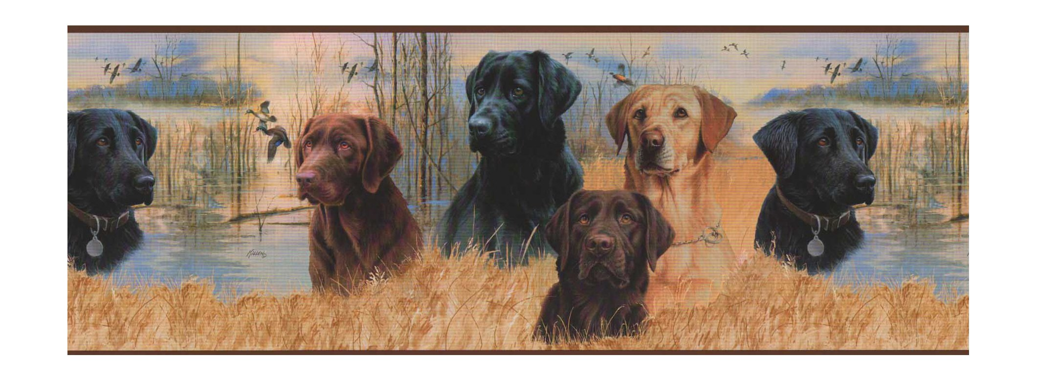 York Wallcoverings Lake Forest Lodge NM6000B Working Dogs Border, Multi/Brown Band