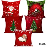 TIED RIBBONS Christmas Satin Design Cushion Covers for Home, 16 X 16 Inch, Multicolour -Set of 5