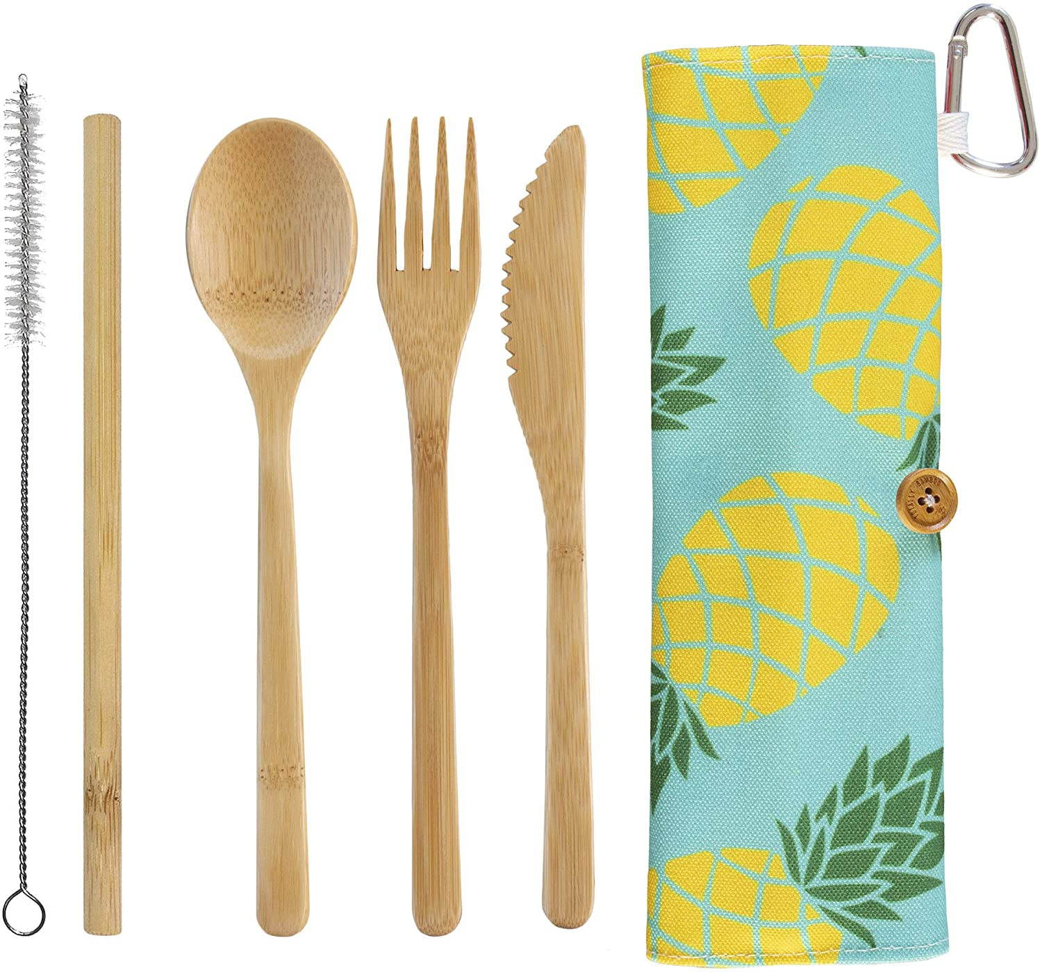 Totally Bamboo Take Along Reusable Utensil Set with Blue Pineapple Style Travel Case | Includes Bamboo Spoon, Fork, Knife and Drinking Straw | Dishwasher Safe