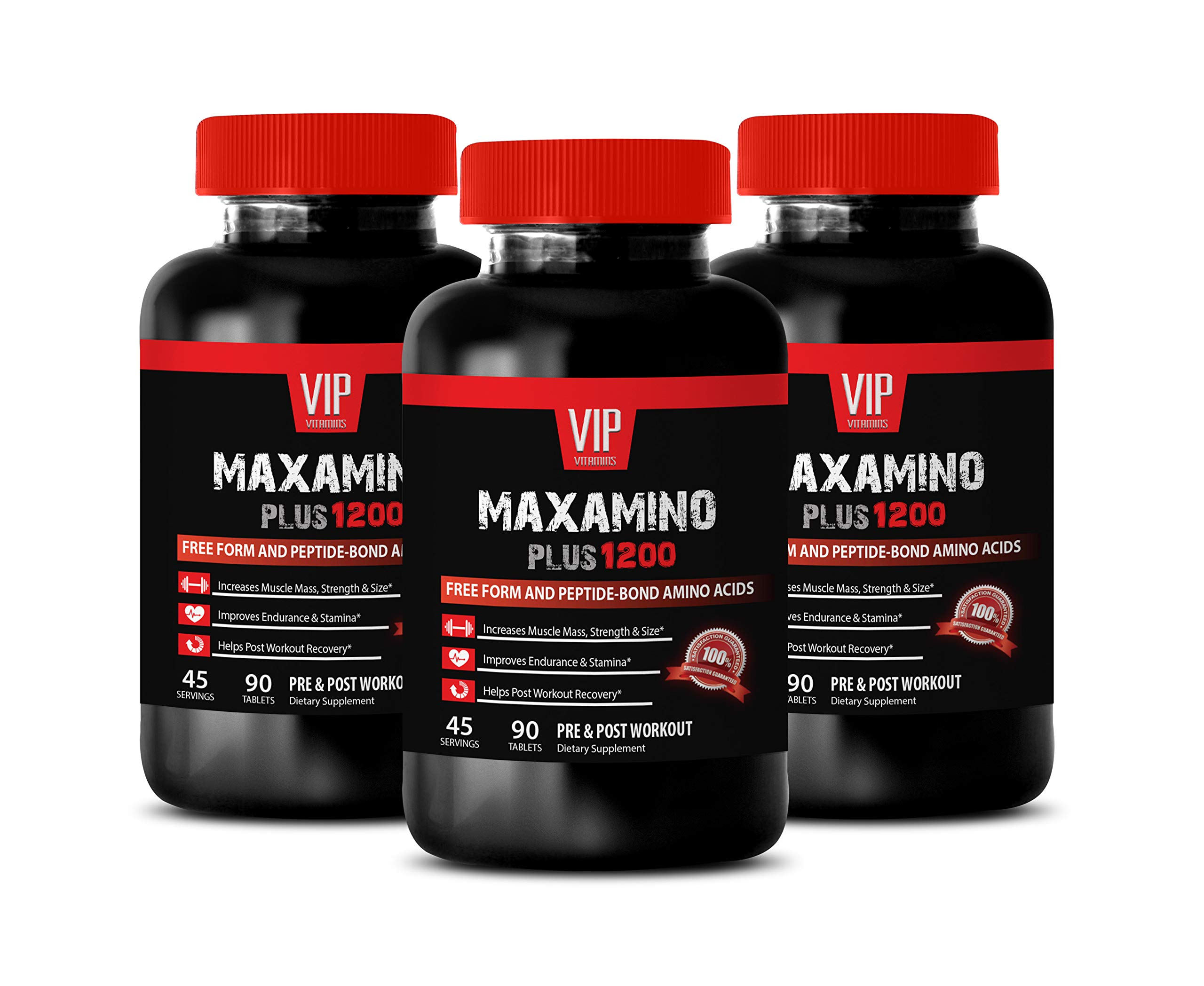Muscle Recovery Vitamins - MAXAMINO Plus 1200 for Men - Free Form and PEPTIDE Bond Amino ACIDS - PRE and Post Workout - 9 Amino acids Supplements - 3 Bottles (270 Tablets)