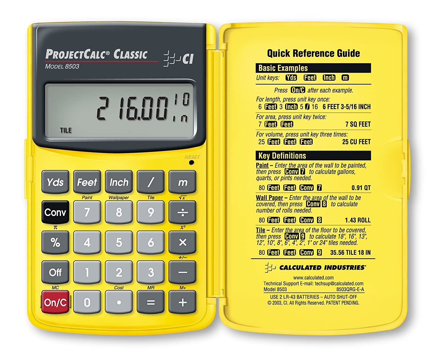Calculated industries 8503 projectcalc classic home improvement calculated industries 8503 projectcalc classic home improvement calculator for do it yourselfers amazon dailygadgetfo Gallery