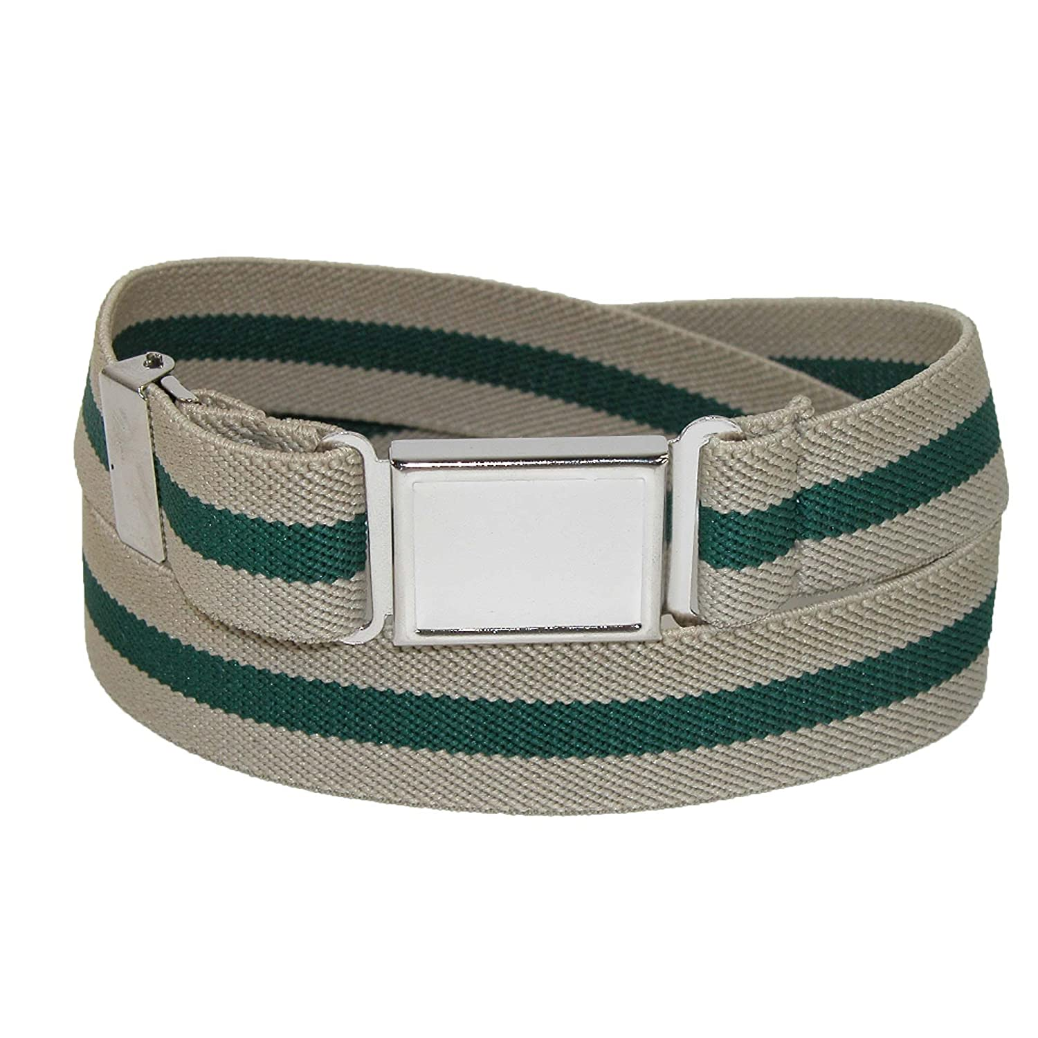 CTM® Kids' Elastic Striped Belt with Magnetic Buckle, Navy/Khaki / Navy SF-PCMAGNSTRIPE-NAV