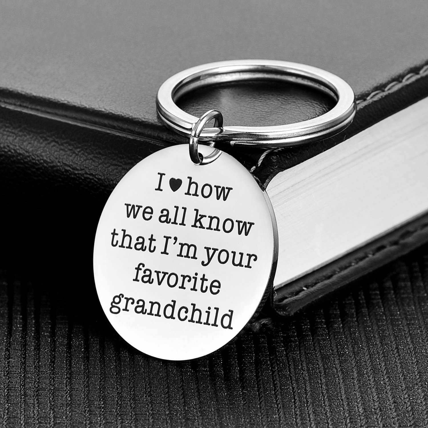 Alxeani Funny Father's Day Gifts for Grandpa - I'm Your Favorite Grandchild Keychain, Best Birthday Gift for Grandfather Grandmother from Grandson or Graddaughter, Mother's Day Keychain for Grandma by Alxeani (Image #2)