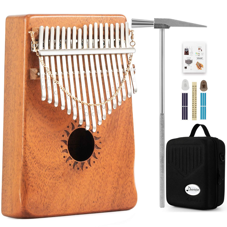 Donner 17 Key Kalimba Thumb Piano Solid Finger Piano Mahogany Body DKL-17 With Hard Case by Donner