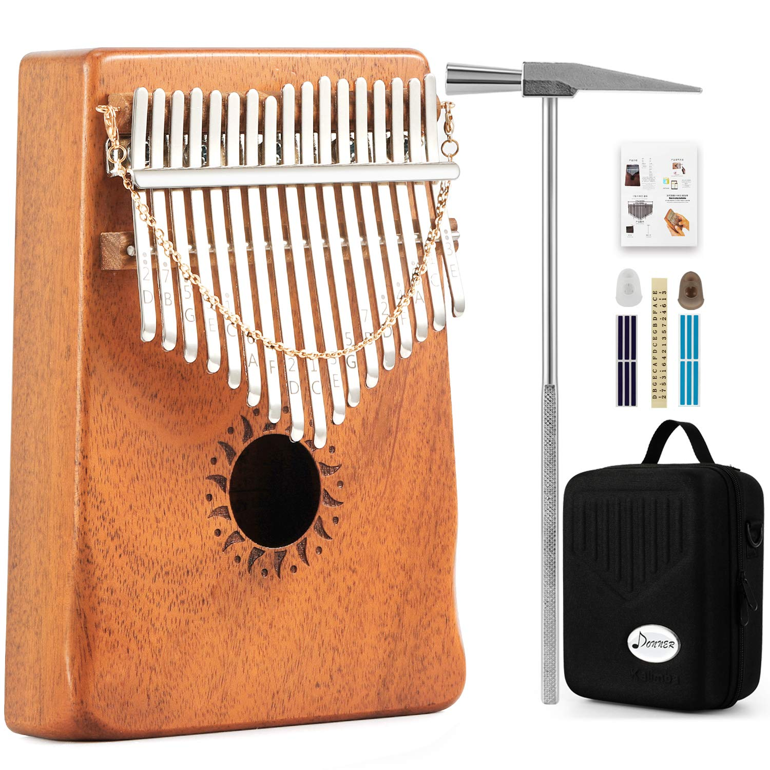 Donner 17 Key Kalimba Thumb Piano Solid Finger Piano Mahogany Body DKL-17 With Hard Case by Donner (Image #1)