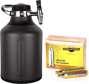 GrowlerWerks uKeg Go 128 Carbonated Growler and Craft Beverage Dispenser for Beer, Tungsten, Box of 10 16g CO2 Chargers