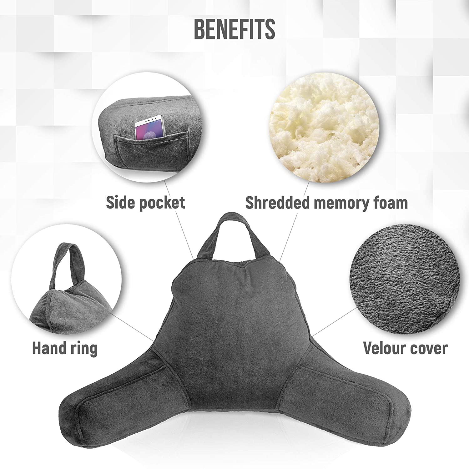 Global SmartBuy Reading Pillow Shredded Foam Bed Rest Pillow 18 inch Dark Grey, Large Pillow Chair with Arms