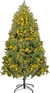 VIVOHOME 6ft Pre-lit Artificial Green Christmas Tree with Pine Cones 500 Clear LED Lights and Stand for Home and Holiday Decoration